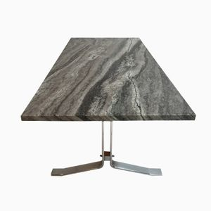 Modernist Marble and Chromed Steel Coffee Table