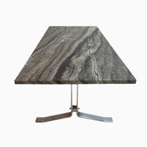 Table Basse Moderniste en Marbre et Acier Chromé