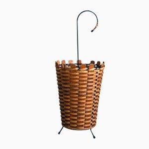 Umbrella Rack in Rattan & Metal from Rohé Noordwolde, 1950s