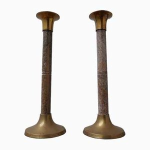 Mid-Century Marble and Brass Candleholders, Set of 2
