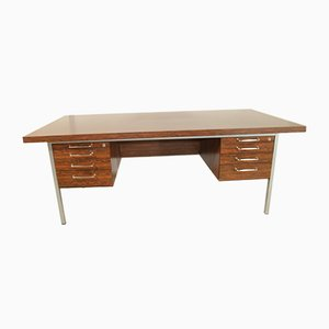Large Rosewood & Chrome Desk With Sliding Door Cupboard