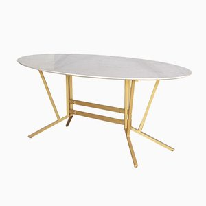 Vintage Oval Dining Table with Carrara Marble Top, 1960s