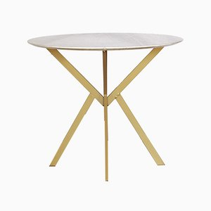 Dining Table with Round Carrara Marble Top, 1960s