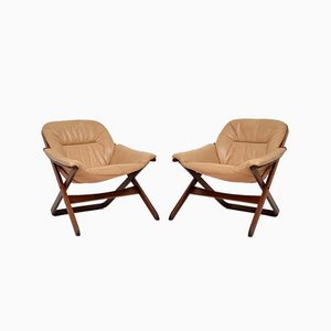 Swedish Leather Armchairs, 1970s, Set of 2