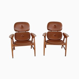 Italian Vintage Armchairs with Ashtrays and Plywood by Poltronova, 1960s