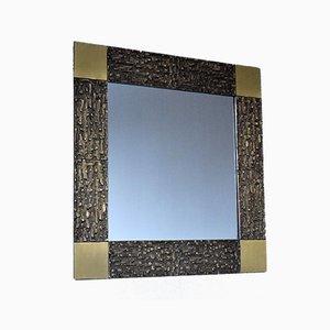 Mid-Century Italian Modern Solid Bronze Square Mirror