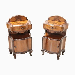 Vintage Walnut Burl Nightstands, 1930s, Set of 2