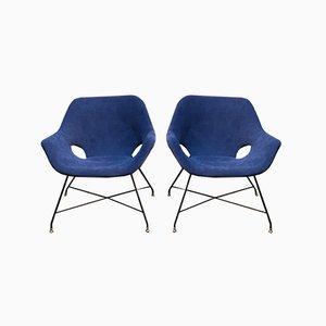 Italian Blue Lounge Chairs by Augusto Bozzi for Saporiti Italia, 1954, Set of 2