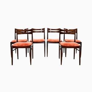 Mid-Century Mahagoni Stuhl mit Rosa Samtbezug, 1960er, 6er Set