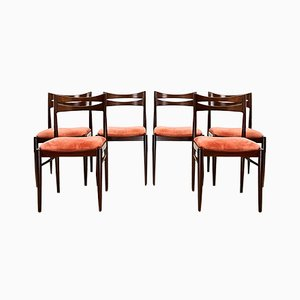 Mid-Century Mahogany Chair with Pink Velvet Upholstery, 1960s, set of 6