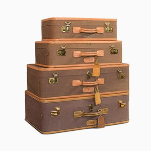 Vintage American Leather Luggage Set, 1970s, Set of 4