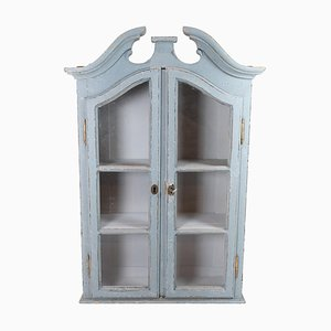 Grey-Painted Hanging Glass Cabinet in Gustavian Style, 1820