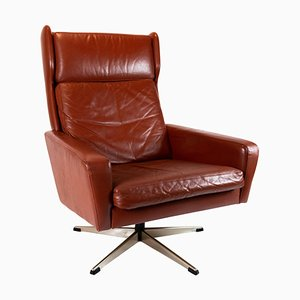 Danish Red Brown Leather Easy Chair, 1960s