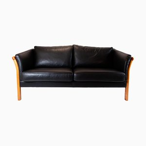 Danish Black Leather Two-Seat Sofa, 1960s