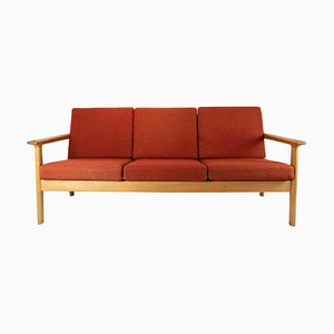 Oak and Red Wool Three-Seat Sofa by Hans J. Wegner for Getama, 1960s