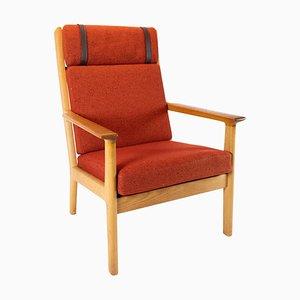 Sessel aus Eiche und roter Wolle von Hans J. Wegner für Getama, 1960er