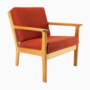 Oak and Red Wool Easy Chair by Hans J. Wegner for Getama, 1960s