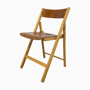 Mid-Century French Wood Folding Chair, 1970s
