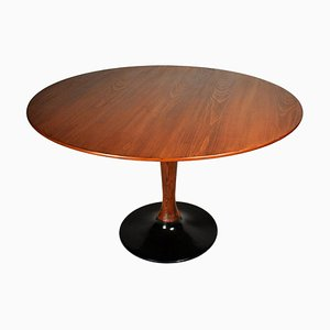 Czechoslovakian Round Beech Dining Table, 1970s