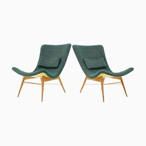 Czechoslovakian Shell Lounge Chairs by Miroslav Navratil, 1960s, Set of 2
