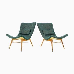 Czechoslovakian Shell Lounge Chairs by Miroslav Navratil, 1960s, Set of 2