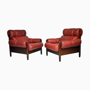 Scandinavian Leather Armchairs, 1970s, Set of 2