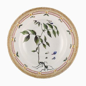 Royal Copenhagen Flora Danica Deep Plate in Porcelain with Hand-Painted Flowers