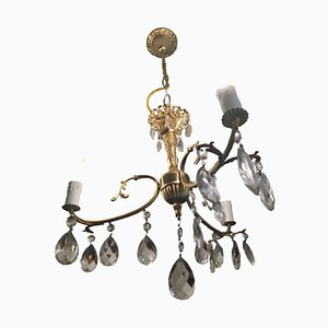 Antqiue Golden Chandelier With Crystals and Three Arms