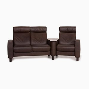 Dark Brown Leather Stressless Arion Three-Seater Home Theater Sofa