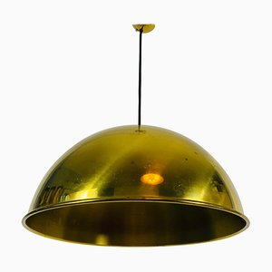 Polished Brass Pendant Lamp by Florian Schulz, 1970s