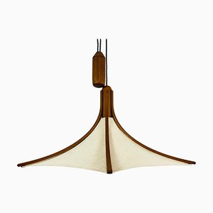 Mid-Century Adjustable Wooden Pendant Lamp with Counterweight by Domus, 1960s