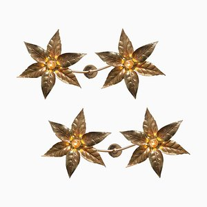 Willy Daro Style Brass Double Flower Wall Lights, 1970s