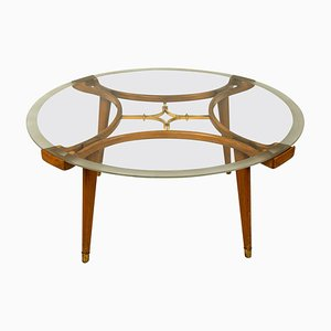 Solid Brass Walnut Glass Coffee Table by William Watting for Fristho, 1950s