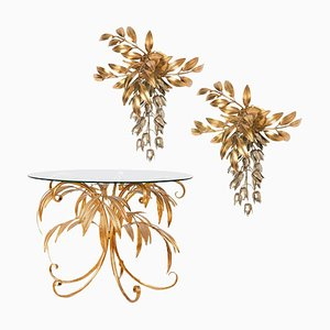 Gilt Metal Palm Tree Wall Sconces and Side Table by Hans Kögl, 1960s, Set of 3