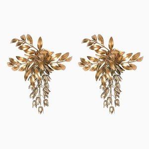 Gilt Metal Palm Tree Wall Light Sconces by Hans Kögl, 1960s, Set of 2