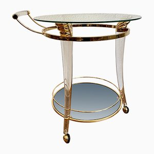 Italian Bar Cart with Brass Frame, 1970s