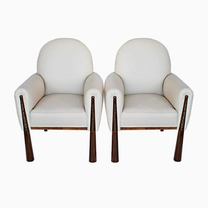 Art Deco Walnut Armchairs, 1920s, Set of 2