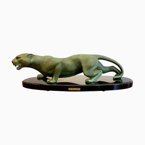 Art Deco Animal Bronze Sculpture Panther on Black Oval Marble Base by Guy Debe, 1930s