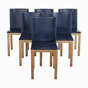Oak and Leather Scandinavian Dining Chairs By Gemla, Set of 6