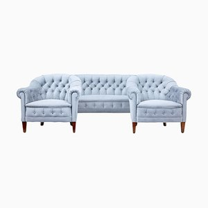 Early 20th Century Buttonback 3-Piece Suite Sofa and 2 Chairs