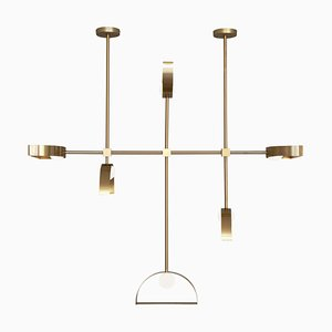 Brass Sphere and Cut Circle Pendant Lamp Square in Circle