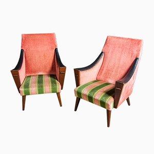 Mid-Century Velvet Rose Chairs, 1960s