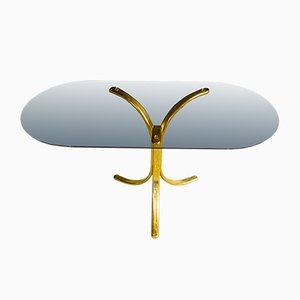 Mid-Century Gold Coffee Table with Brass Base, 1960s