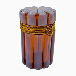 Antike Opalglas Box mit Vergoldetem Messing Rahmen