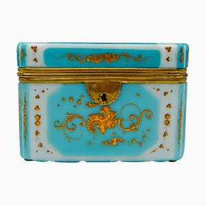 Antique Overlay Box in Gold Enameled Opaline
