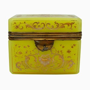 Antique Yellow Opaline Box Enameled with White and Gold Decors