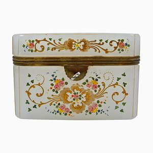 Antike Emaillierte Opalglas Box