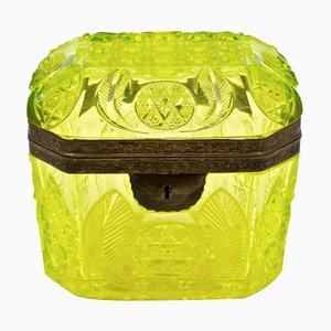 Antique Yellow Cut Crystal Box