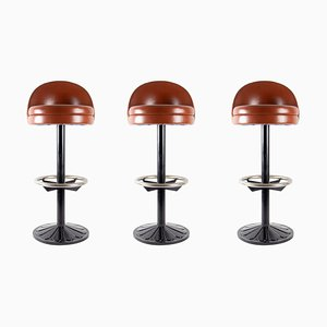 Leather, Cast Iron & Steel Barstools, 1920s, Set of 3