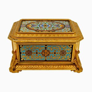 Antique Gilded and Enameled Bronze Box with Velvet Interior from Tahan